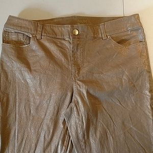 Chico's high waist gold metallic shiny pants